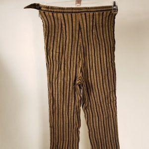 Women. High waisted. Striped. Brown. Linen Pants.